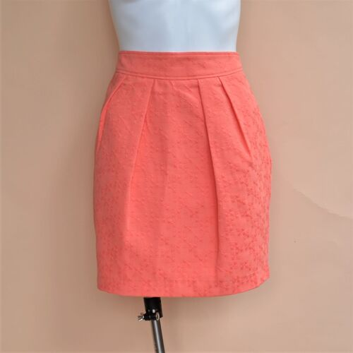 Portmans Coral Orange Pleated Skirt