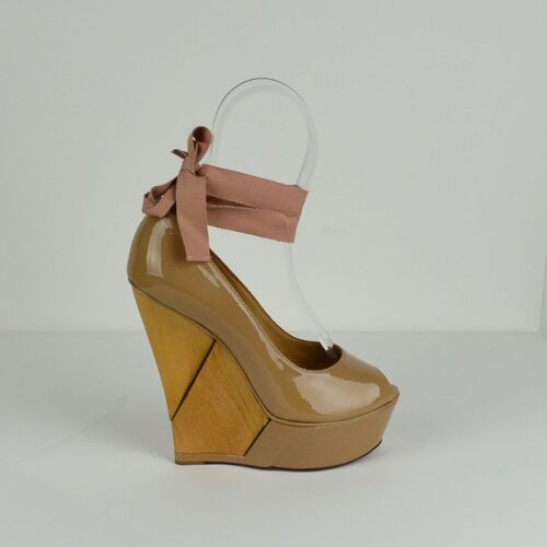Lanvin Patent wedge with ankle ties